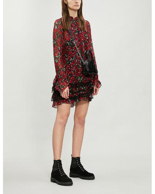 fcda8616a The Kooples - Multicolor Lace Ruffle Trim Floral Silk-blend Dress - Lyst