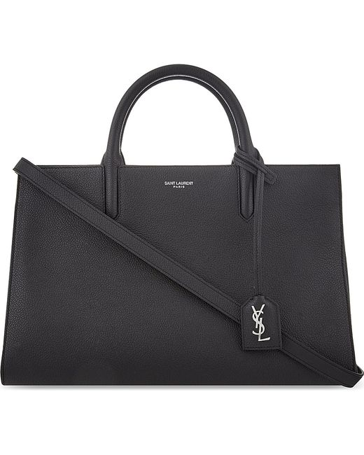 Saint Laurent | Black Cabas Rive Gauche Small Leather Tote | Lyst