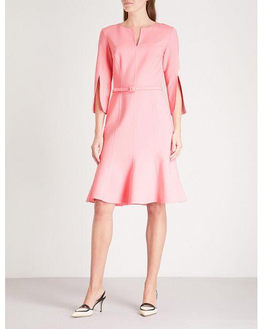 Oscar de la Renta - Pink Split-sleeve Fit-and-flare Stretch-wool Dress - Lyst