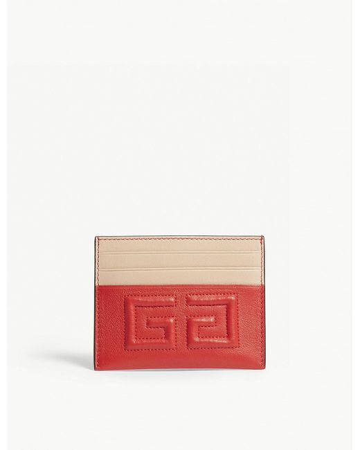 Givenchy - Red Leather 4g Card Holder - Lyst