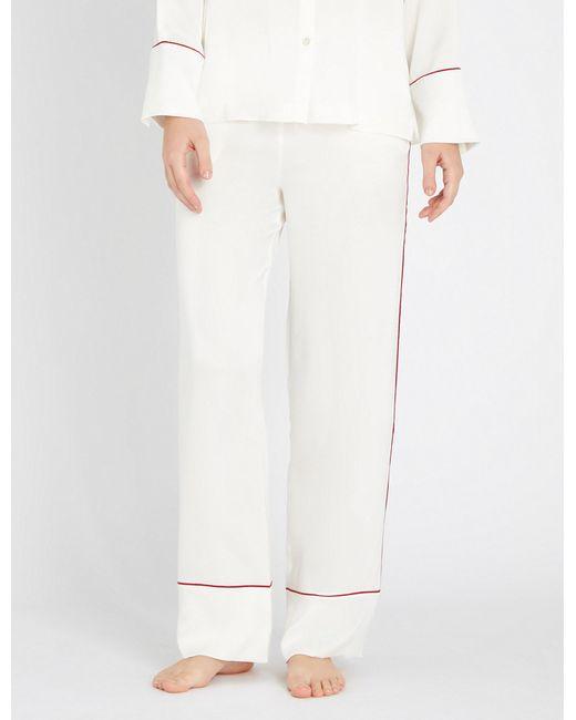 Asceno - White Contrast-trim Silk-satin Pyjama Bottoms - Lyst