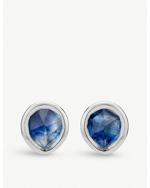 Monica Vinader - Blue Siren Mini Sterling Silver And Kyanite Stud Earrings - Lyst