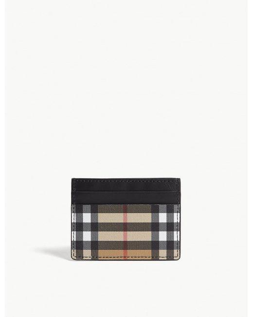 Burberry - Black Sandon Vintage Check Leather Card Holder - Lyst
