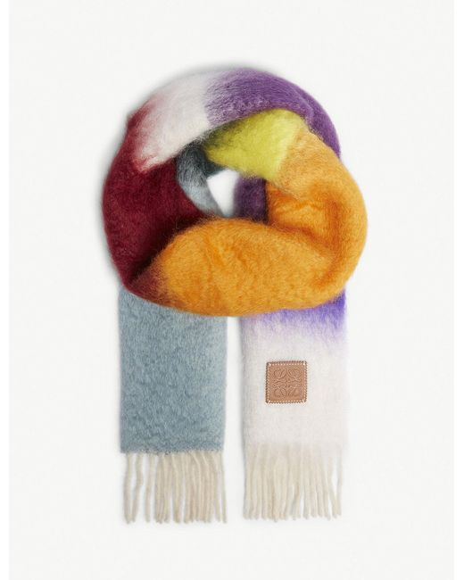 Loewe - Multicolor Multi-coloured Mohair-blend Scarf for Men - Lyst