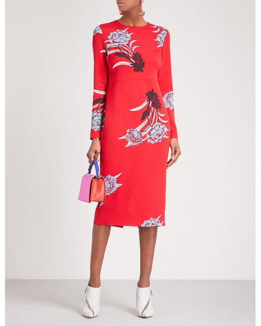 Diane von Furstenberg   Red Floral-print Crepe Midi Dress   Lyst