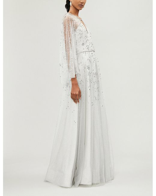 Jenny Packham White Windemere Embellished Tulle Gown Lyst