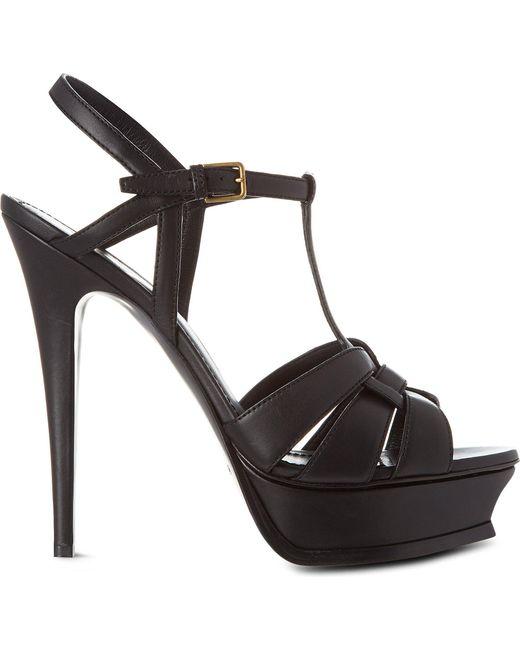 Saint Laurent - Classic Tribute Sandals In Black Leather - Lyst
