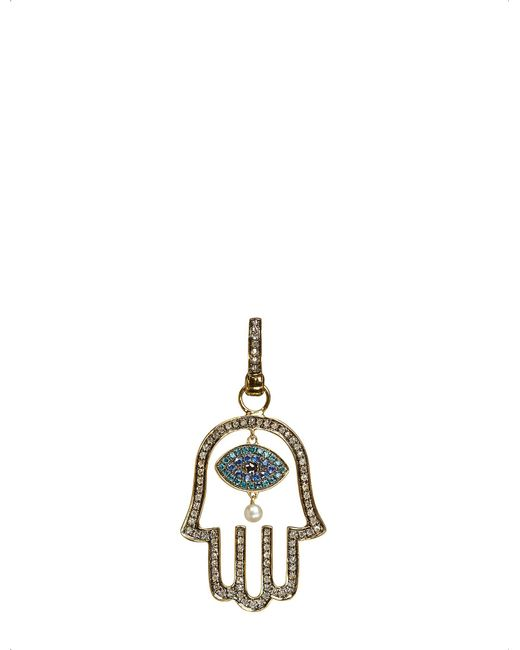 Annoushka - Mythology 18Kt Yellow-Gold, Diamond And Pearl Hand Of Fatima Amulet Pendant - For Women - Lyst