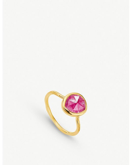 Monica Vinader - Siren 18ct Gold Vermeil And Pink Quartz Medium Stacking Ring - Lyst