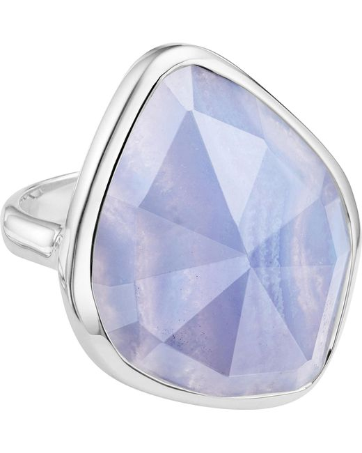 Monica Vinader | Metallic Siren Sterling Silver And Blue Lace Agate Nugget Cocktail Ring | Lyst