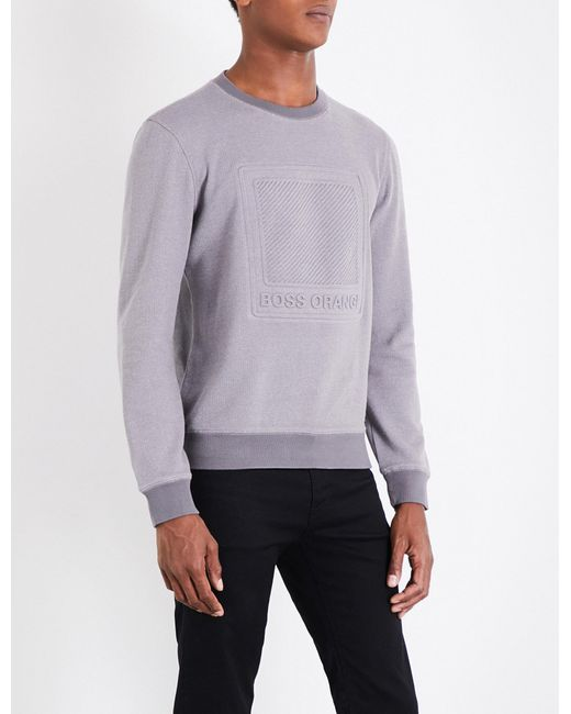 BOSS Orange | Gray Logo-embossed Cotton-jersey Sweatshirt for Men | Lyst