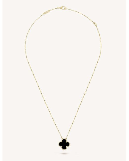 Van cleef arpels vintage alhambra gold and onyx pendant in van cleef arpels metallic vintage alhambra gold and onyx pendant lyst aloadofball Image collections