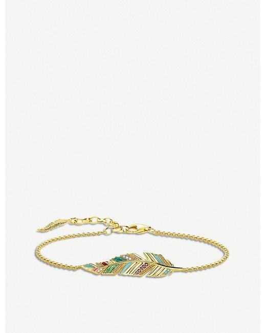 Thomas Sabo - Metallic Tropical Feather 18ct Yellow Gold-plated Bracelet - Lyst