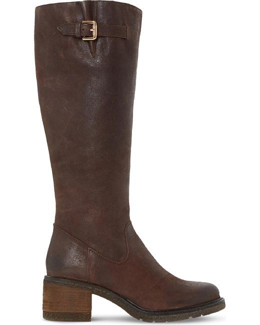 Dune | Brown Tedmund Knee-high Distressed Leather Boots | Lyst