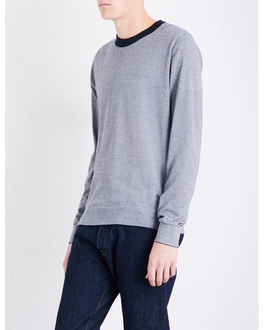 PS by Paul Smith - Blue Striped Cotton Jumper for Men - Lyst