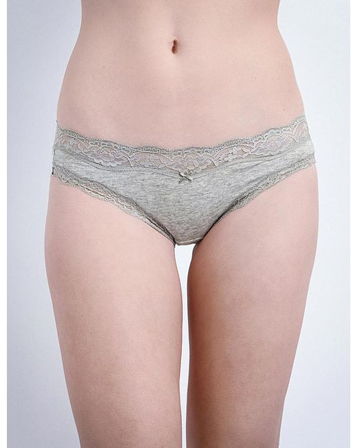DKNY | Gray Downtown Cotton-jersey Bikini Briefs | Lyst