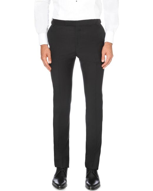 Gieves & Hawkes | Black Tapered Wool And Mohair-blend Trousers for Men | Lyst