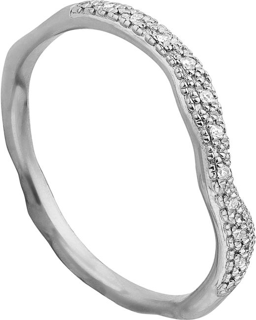 Monica Vinader | Metallic Riva Wave Stacking Sterling Silver Pavé Diamond Ring | Lyst