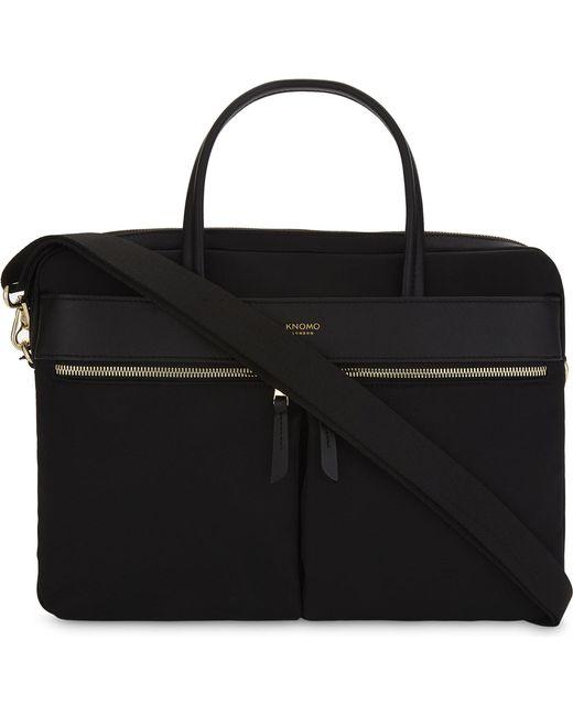 Knomo - Black Mayfair Hanover Slim Nylon And Leather Briefcase - Lyst