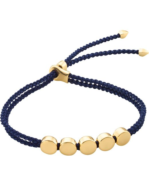 Monica Vinader - Blue Linear Bead 18ct Gold-plated Friendship Bracelet - Lyst