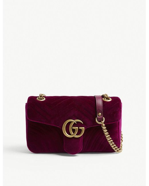 Gucci - Purple Ladies Fuschia Pink Marmont Velvet Shoulder Bag - Lyst