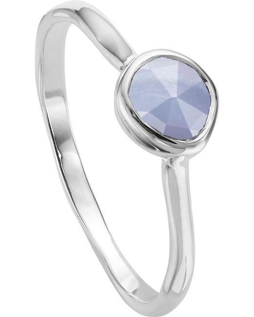 Monica Vinader - Metallic Siren Sterling Silver And Blue Lace Agate Small Stacking Ring - Lyst