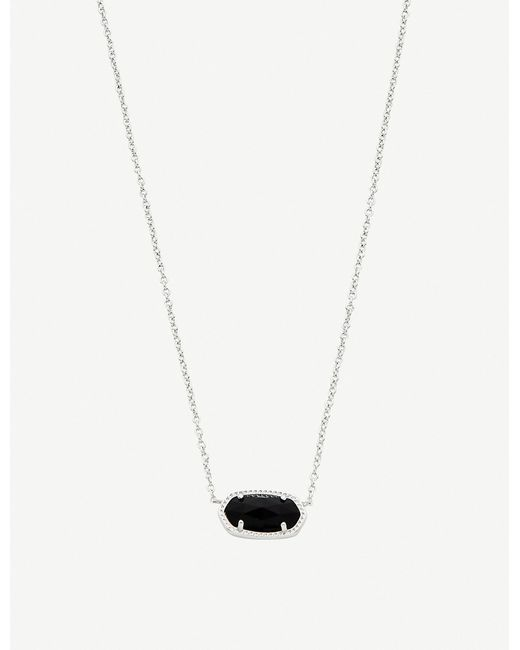 Kendra Scott - Elisa Rhodium-plated And Black Drusy Necklace - Lyst