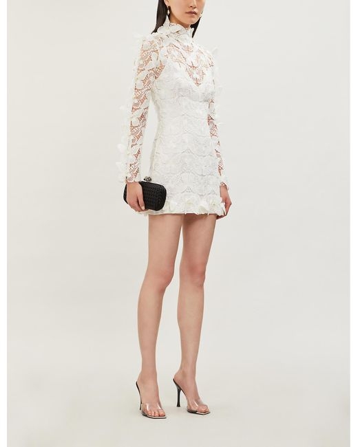 David Koma White Embellished Butterfly-crochet Cotton Mini Dress