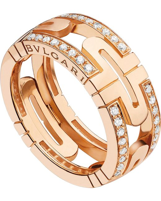 BVLGARI | Parentesi 18kt Pink-gold And Diamond Ring | Lyst