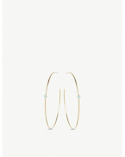 The Alkemistry - Metallic Zoë Chicco 14ct Yellow-gold And Turquoise Hoop Earrings - Lyst
