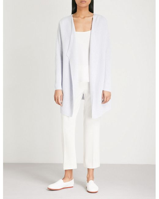 The White Company - White Ribbed Waterfall Long Cardigan - Lyst