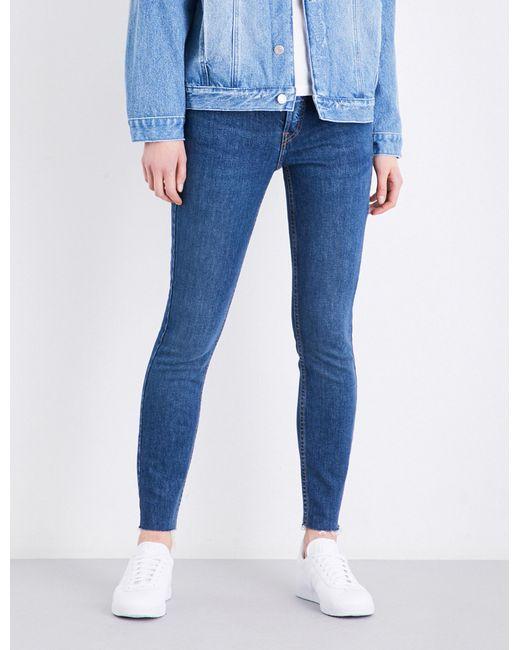 Re/done   Blue Frayed-hem High-rise Straight Leg Jeans for Men   Lyst