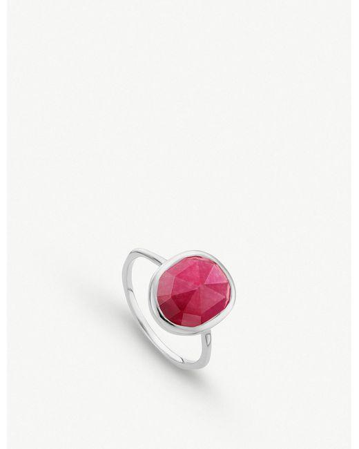Monica Vinader - Pink Siren Medium Semiprecious Stone Stacking Ring - Lyst