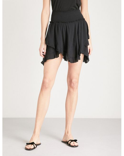 Free People - Black Tiered Asymmetric Jersey Mini Skirt - Lyst