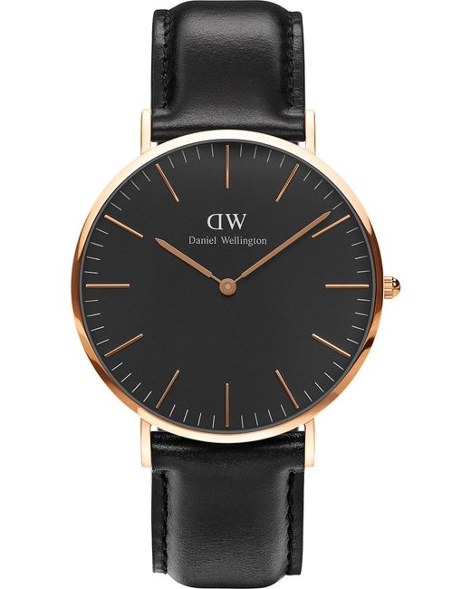 Daniel Wellington | Black Classic Sheffield Rose Gold Watch | Lyst