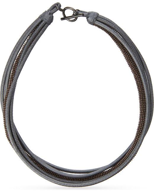 Brunello Cucinelli | Blue Five Layer Necklace | Lyst