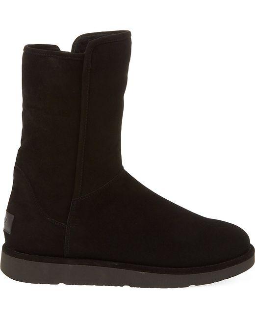 ugg abree short suede ankle boots in black lyst. Black Bedroom Furniture Sets. Home Design Ideas