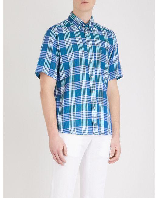 1b314337e92 Eton of Sweden Checked Slim-fit Linen Shirt in Green for Men - Lyst