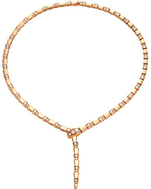BVLGARI - Metallic Serpenti 18kt Rose-gold And Diamond Necklace - Lyst