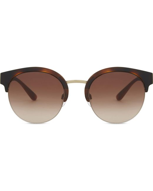 Burberry | Metallic Be4241 Check Round Half-frame Sunglasses | Lyst