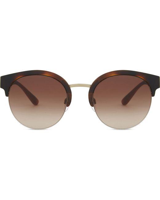 Burberry - Metallic Be4241 Check Round Half-frame Sunglasses - Lyst