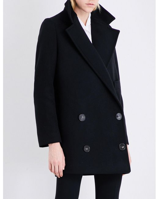 Stella McCartney - Black Double-breasted Wool-blend Coat - Lyst