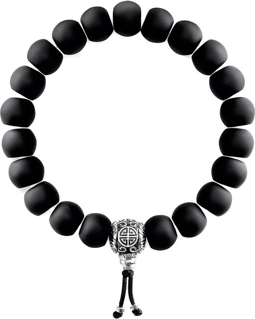 Thomas Sabo - Black Rebel At Heart Matte Obsidian Beaded Bracelet - Lyst