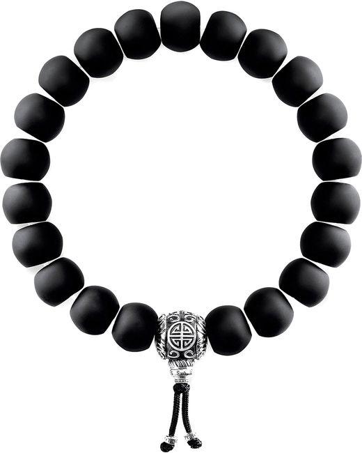 Thomas Sabo - Black Rebel At Heart Matte Obsidian Beaded Bracelet - Lyst
