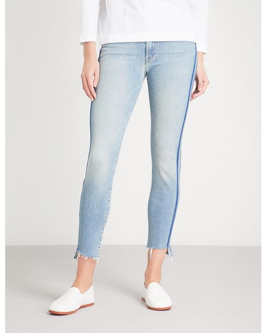 Mother - Blue The Stunner Zip Ankle Step Skinny Cropped Mid-rise Jeans - Lyst