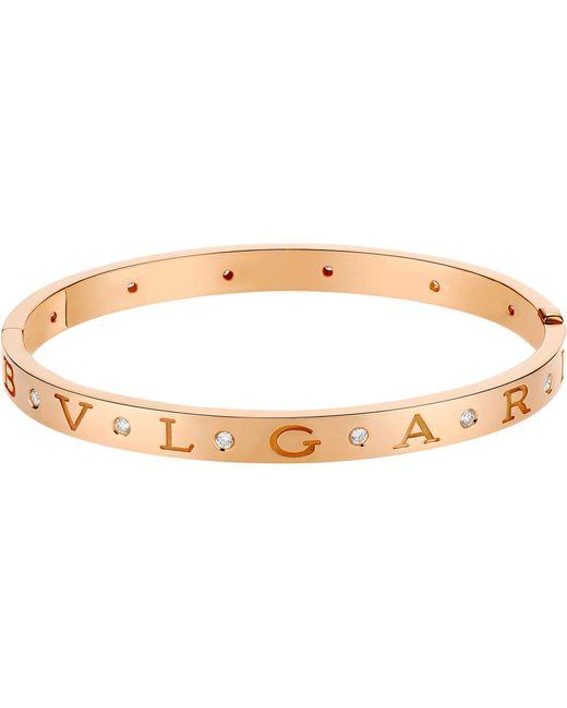 BVLGARI - - 18ct Pink-gold And Diamond Bracelet - Lyst