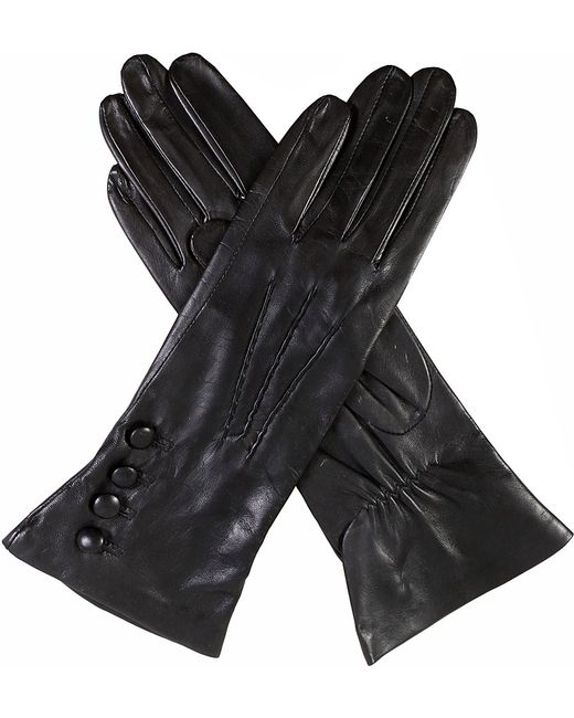 Dents | Black Rose Silk-lined Leather Gloves | Lyst
