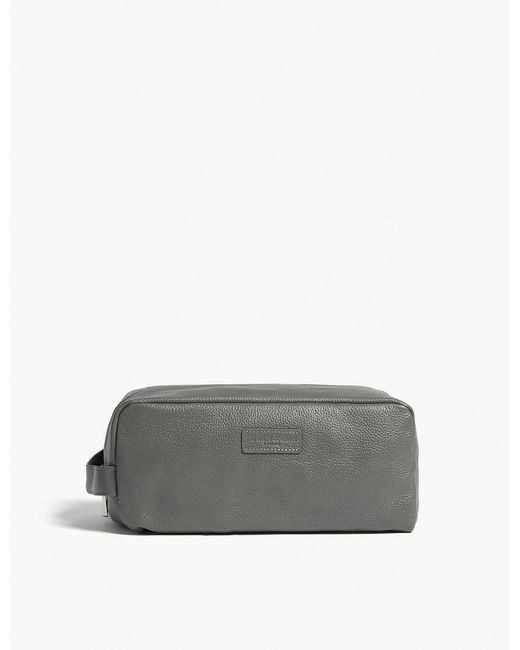 The White Company - Gray Dark Grey Leather Wash Bag for Men - Lyst