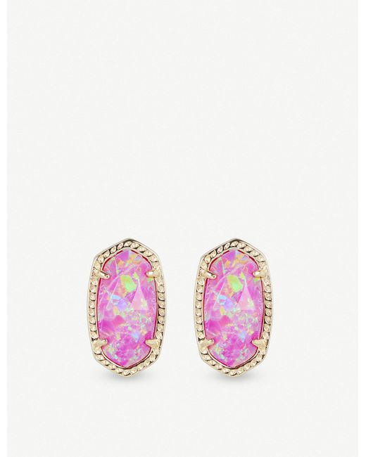 Kendra Scott - Multicolor Ellie 14ct Gold-plated Fuschia Kyocera Opal Stud Earrings - Lyst