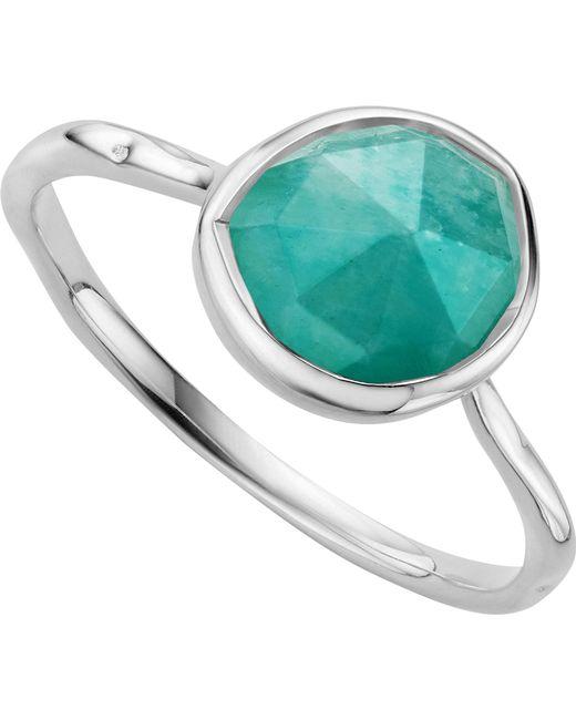 Monica Vinader - Metallic Siren Sterling Silver And Amazonite Medium Stacking Ring - Lyst
